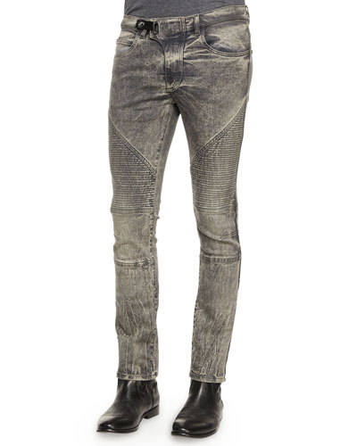 Acid-Washed Slim Moto Jeans, Indigo
