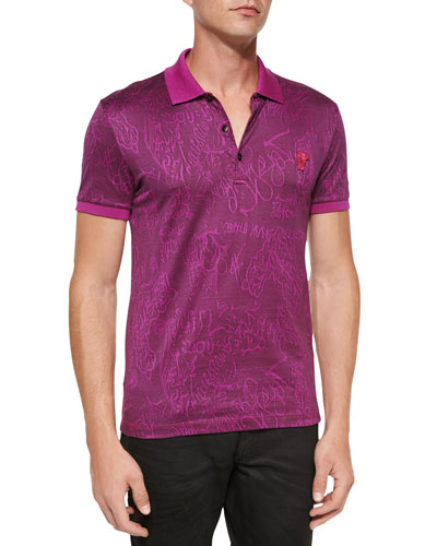 Tonal Graffiti-Print Polo Shirt, Pink