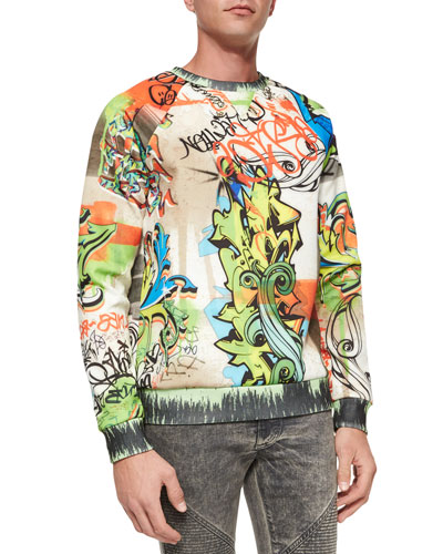 Neoprene Graffiti-Print Sweatshirt, Multicolor