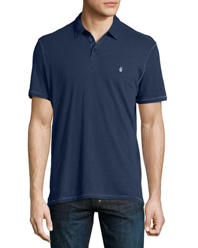 Short-Sleeve Peace Polo Shirt, Navy