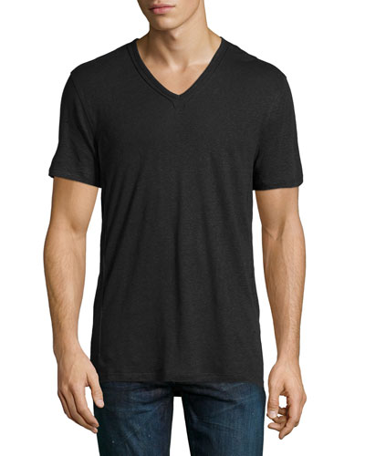 Slub-Knit V-Neck Tee, Black