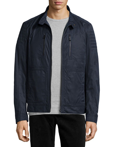 Cuinn Nylon Zip-Up Biker Jacket, Navy