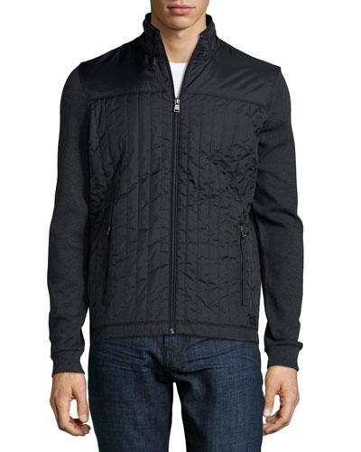 Pizzoli Ribbed Full-Zip Jacket, Gray