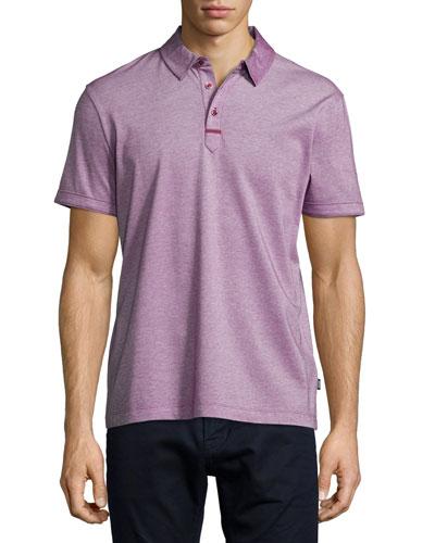 Rapino Slub Short-Sleeve Polo Shirt, Red