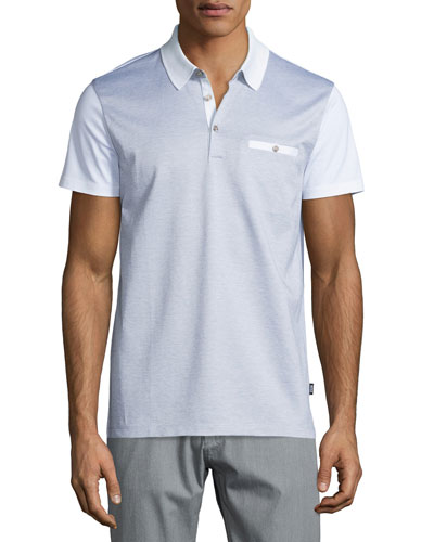 Ancona Colorblock Short-Sleeve Pique Polo, White