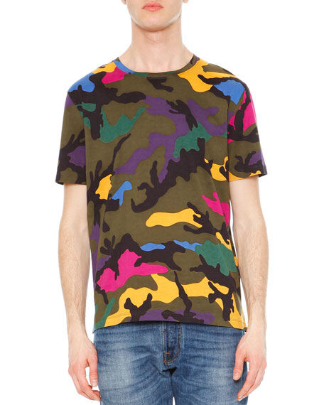 Valentino Camo Print Crewneck T Shirt Multi Neiman Marcus