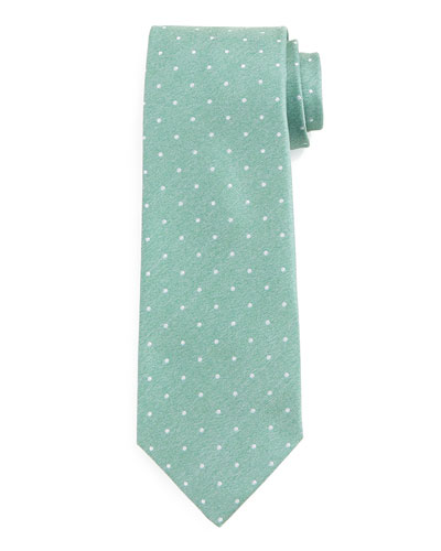 Dot-Patterned Silk Tie, Aqua