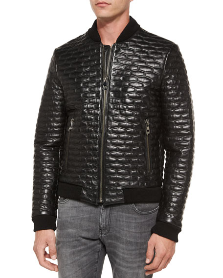 Versace Collection Quilted Leather Blouson Jacket, Black