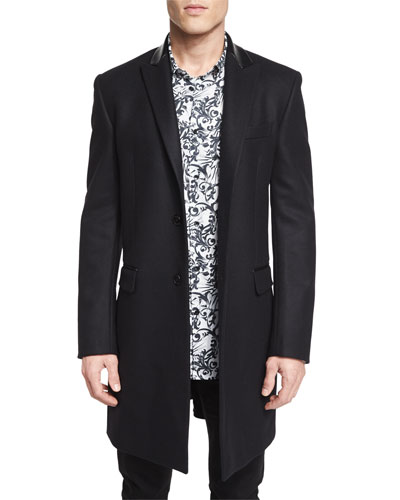 Wool Button-Down Top Coat, Black