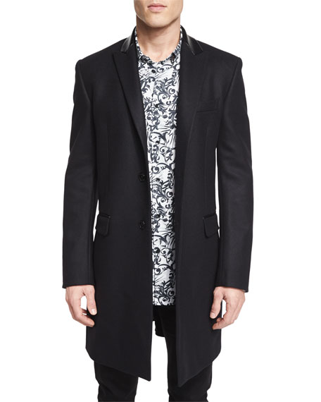 Versace Collection Wool Button-Down Top Coat, Black