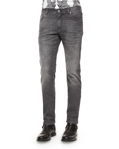 Stone-Washed Denim Jeans, Gray