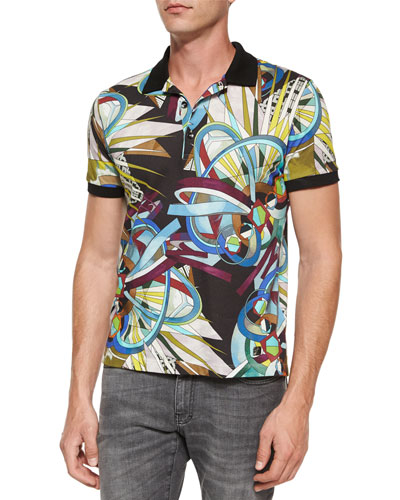 Multi-Graphic Short-Sleeve Polo Shirt, Multicolor