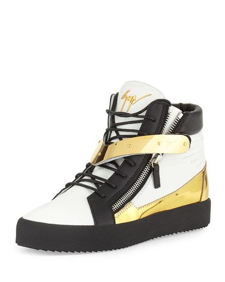 Giuseppe Zanotti Men's Tricolor Leather High-Top Sneaker,