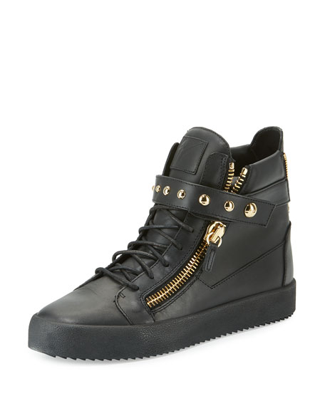 Giuseppe Zanotti Men's Matte Leather High-Top Sneaker, Black