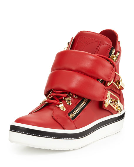 Giuseppe Zanotti Calf Leather High-Top Sneaker, Red