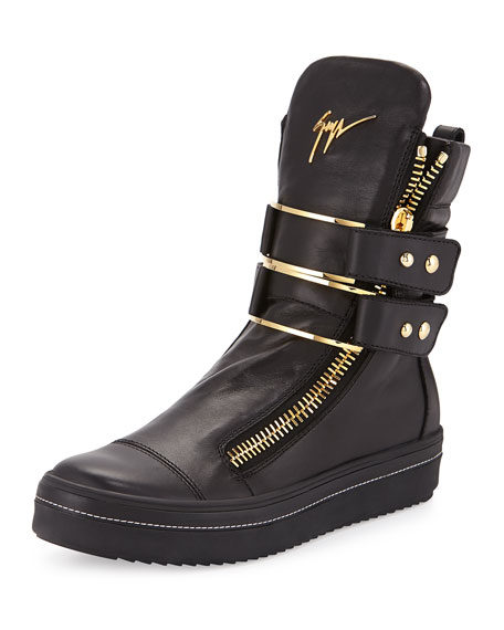 Giuseppe Zanotti Men's Leather High-Top Sneaker with Buckle,