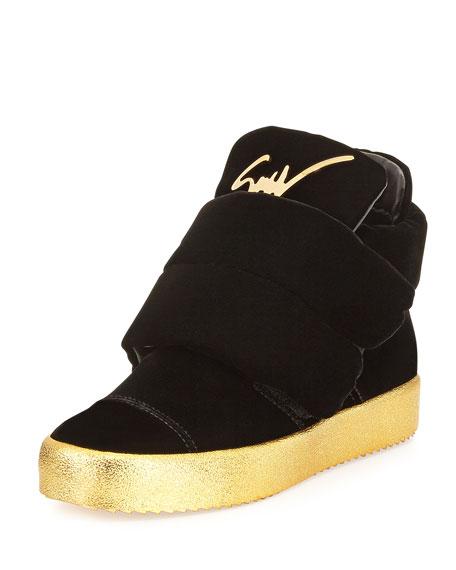 Giuseppe Zanotti Men's Two-Strap Velvet High-Top Sneaker, Black