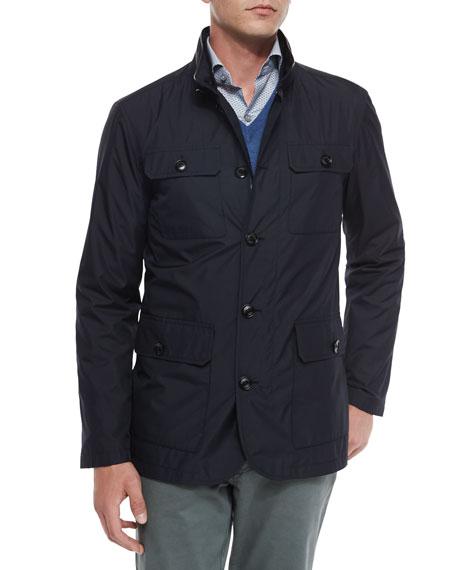 Ermenegildo Zegna Four-Pocket Quilted Safari Jacket, Navy