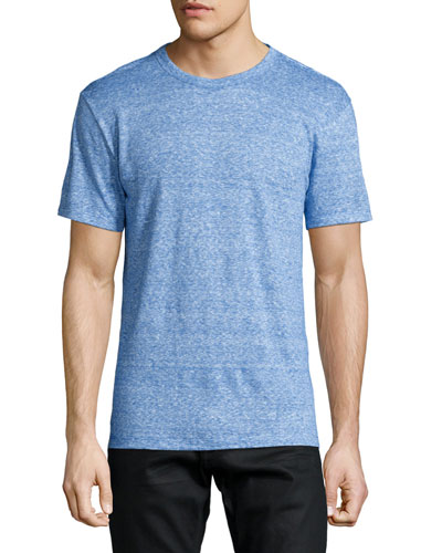 Fine-Stripe Short-Sleeve Linen Tee, Blue