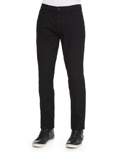 Bearden Stretch Moto Jeans, Black