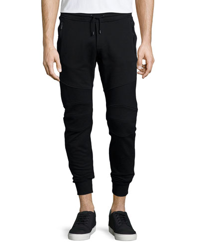 Ashdown Tapered Moto Sweatpants, Black