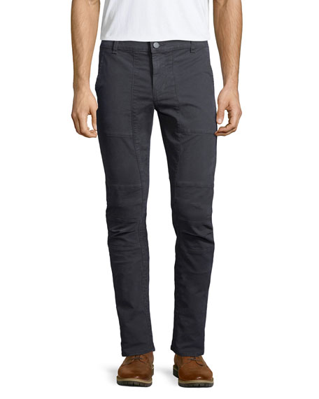 J Brand Jeans Stein Slim-Fit Moto Pants, Black