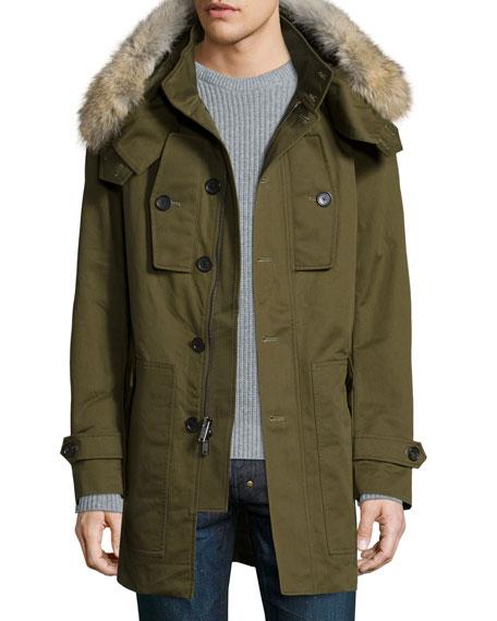 Michael Kors Anorak Jacket w/Detachable Fur-Trim Hood, Green