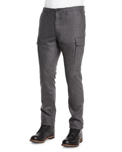 Cashmere-Blend Cargo Pants, Charcoal