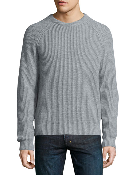 Michael Kors Ribbed Crewneck Sweater, Gray