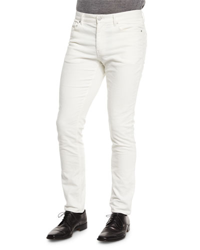 Five-Pocket Slim-Fit Pants, Cream
