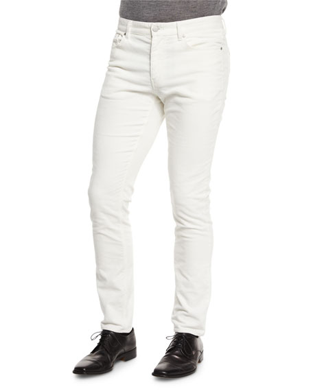 Michael Kors Five-Pocket Slim-Fit Pants, Cream