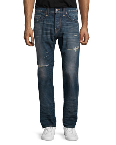 Ricky Distressed Denim Jeans, Blue