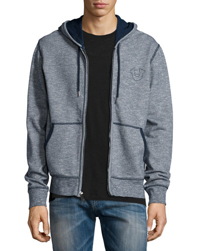 Contrast-Stitching Knit Hoodie, Navy
