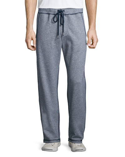 Contrast-Stitch Knit Sweatpants, Navy