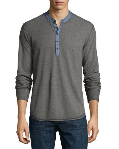 Chambray-Trim Long-Sleeve Henley Shirt, Gray