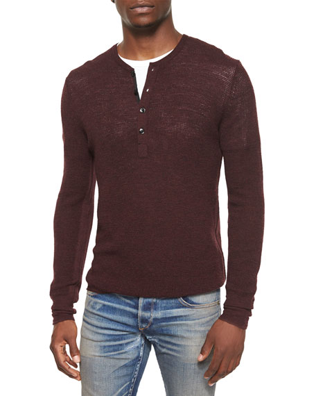 Garrett Long-Sleeve Thermal Henley Shirt, Burgundy