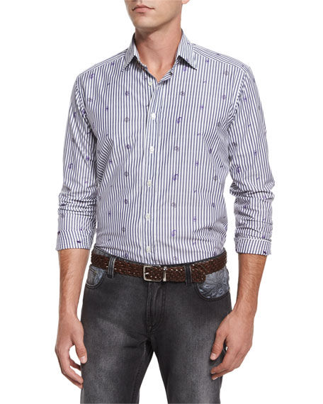 Etro Stripe & Small Paisley-Print Woven Shirt, Gray