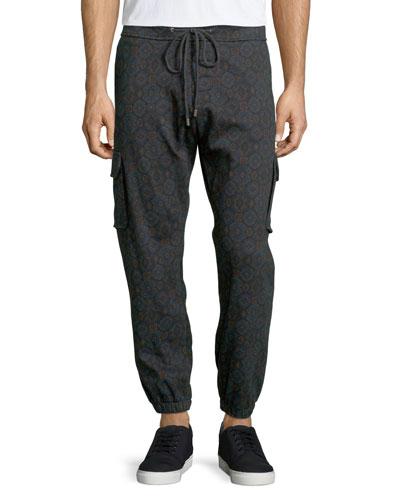 Medallion-Print Knit Jogger Pants, Navy