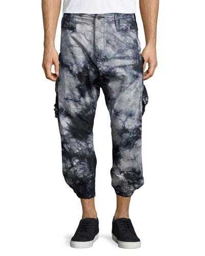 Tie-Dye Cropped Jogger Pants, Black