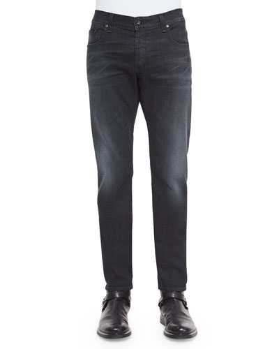 Slim-Fit Faded Denim Jeans, Black
