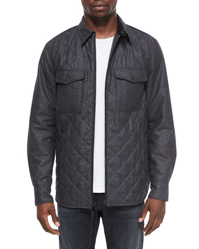 Long-Sleeve Quilted Shirt Jacket, Dark Gray