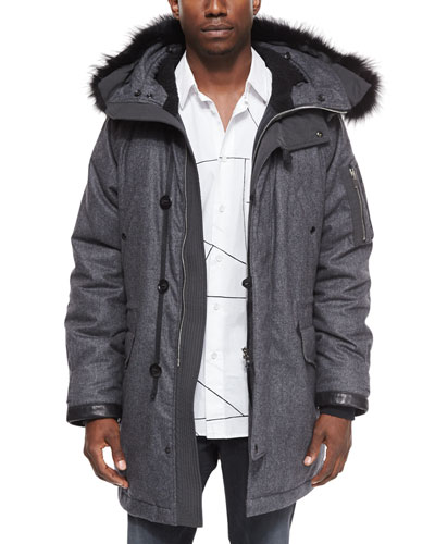 Mixed Media Parka with Fur-Trimmed Hood, Charcoal