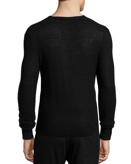 Garrett Thermal Long-Sleeve Henley Shirt, Black