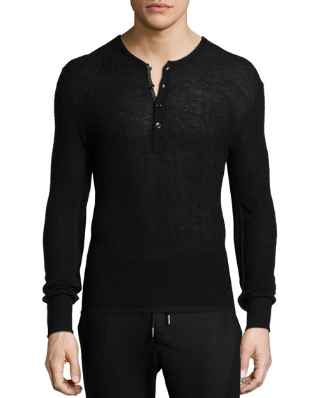rag bone garrett thermal long sleeve henley shirt black