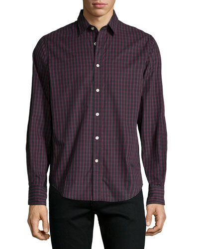 Tartan Plaid Long-Sleeve Sport Shirt, Dark Red