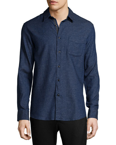 Solid Long-Sleeve Beach Shirt, Indigo