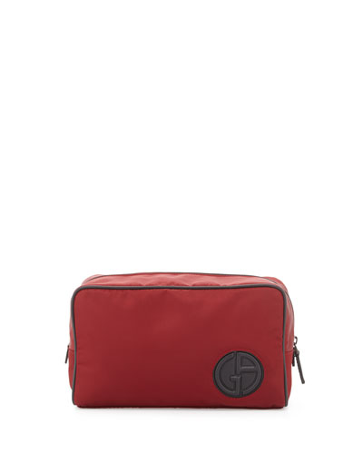 Nylon Travel Bag with Leather Trim, Red