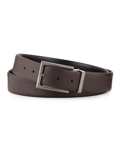 Reversible Leather Belt, Espresso/Black