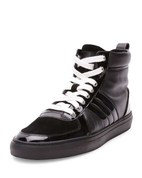 Bally Hervey High-Top Sneaker with Patent Leather, Black