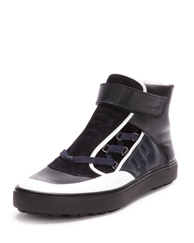 Osman Leather High-Top Sneaker, Black/White